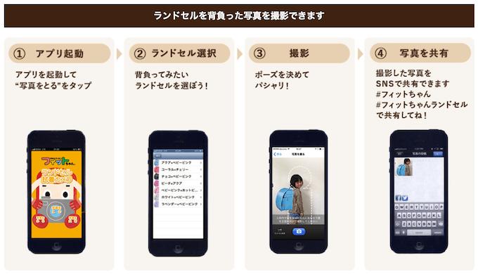 フィットちゃんのランドセル試着アプリ(2022年度版)使い方