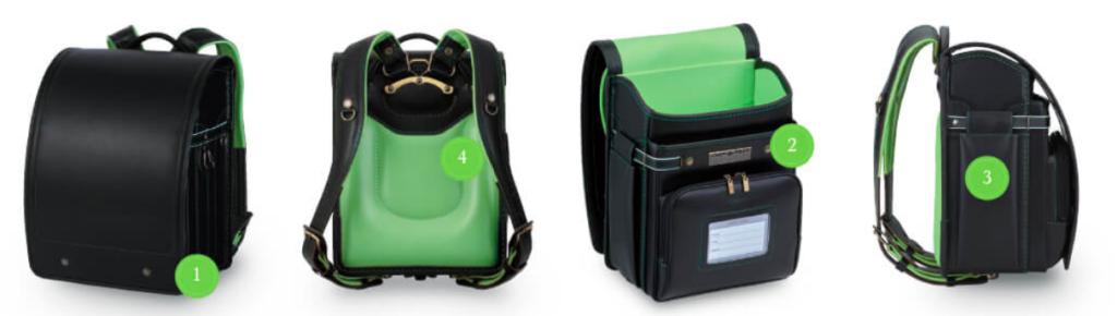 萬勇鞄の黒緑ランドセル