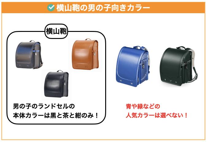 横山鞄の男の子向きデザイン