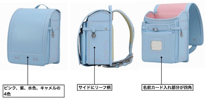 横山鞄のⅬ6フィルウェル人工皮革リーフランドセル