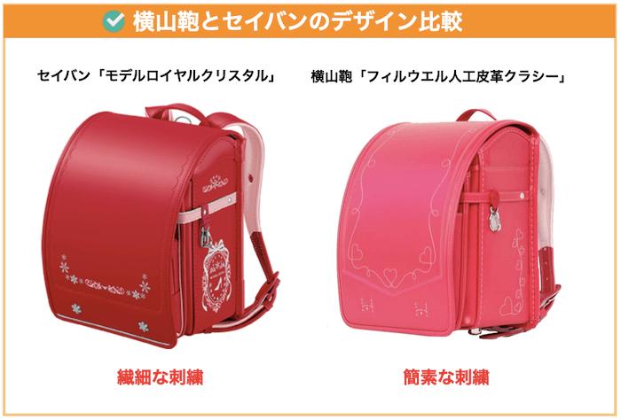 横山鞄とセイバンのデザイン比較